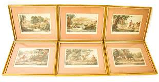Set 6 Antique Hand Colored Hunt Engravings Vernet