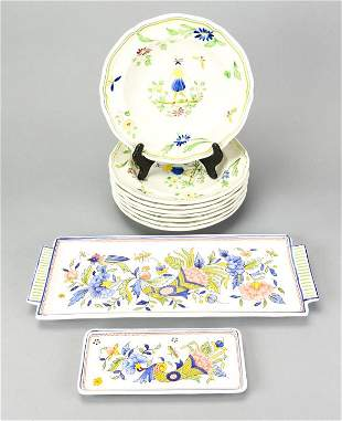 Set 8 Moustiers Hand Painted Faience Soup Plates