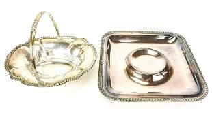 Silver Plate Footed Horderve Serving Dish / Basket