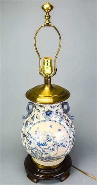 Blue Botanical / Butterfly Ceramic Vase Table Lamp