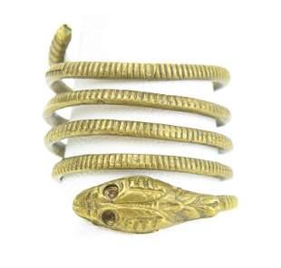 Vintage Gilt Metal Coiled Snake Ring