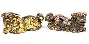 Pair Carved & Gilt Wood Chinese Foo Dog Statue