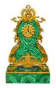 Antique Russian Style Malachite Ormolu Clock