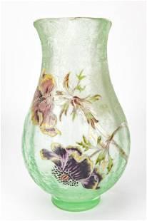 Emile Galle Acid Etched & Enameled Glass Vase