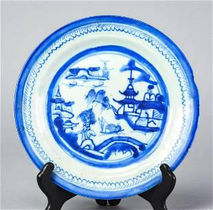 Antique Porcelain Canton Blue & White Plate