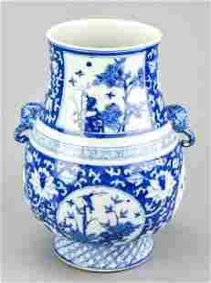 Chinese Blue & White Vase w Elephant Handles