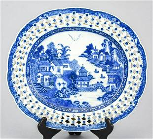 Finely Painted Chinese Porcelain Reticulated Tray