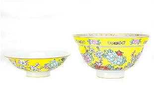 Two Chinese Porcelain Famille Jaune Bowls