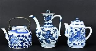 Three Chinese Porcelain Blue & White Tea Pots