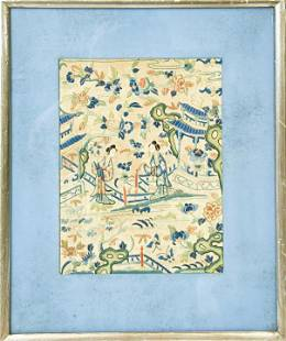 Framed Antique Chinese Embroidered Textile