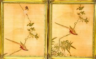 2 Framed Chinese Bird Print Panels