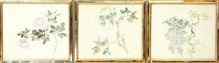 Framed Japanese Silk Floral Watercolor Paintings