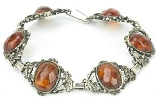 Antique 800 Silver & Faceted Amber Panel Bracelet