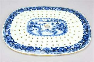 18th C Chinese Blue & White Porcelain Tray Insert