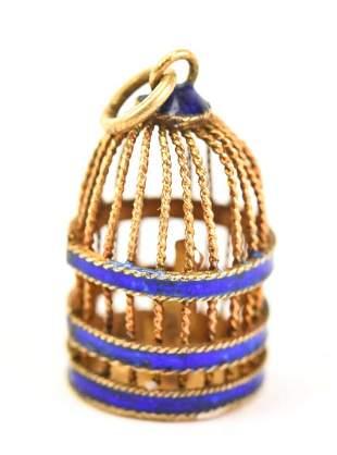 Antique Chinese Enamel Birdcage Pendant / Charm