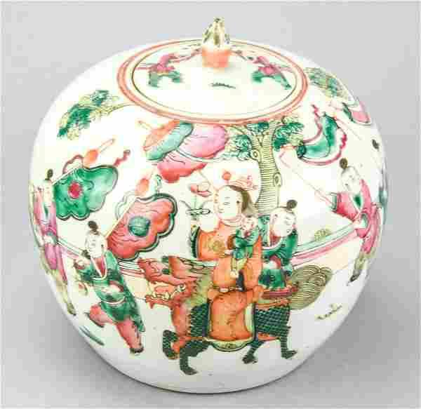 Antique Chinese Porcelain Figural Famille Rose Jar