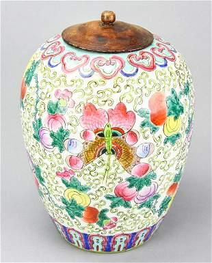 Chinese Famille Verte Porcelain Peach Ginger Jar