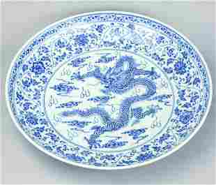 Signed Chinese Blue & White Five Claw Dragon Bowl