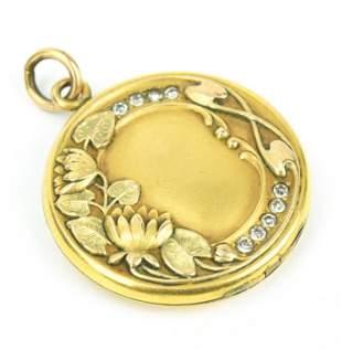 Antique C 1900 Art Nouveau Gold Locket Pendant