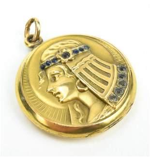 Antique C1900 Egyptian Revival Gold Locket Pendant