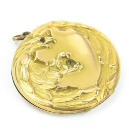 Antique C 1900 Figural Eagle Gold Locket Pendant