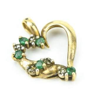 Estate 10kt Yellow Gold Diamond & Emerald Heart