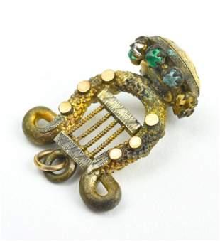 Antique 19th C Gold Filled Lyre Form Pendant Charm