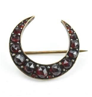 Antique 19th C Rose Cut Garnet Silver Crescent Pin