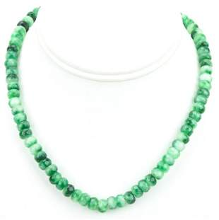 150 Carat Emerald Bead Necklace w 14kt Gold Clasp