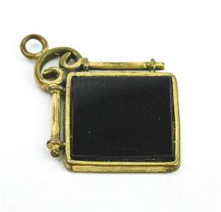 Antique 19th C Gold Filled & Onyx Pendant & Fob