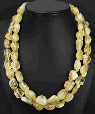 Double Strand Tumbled Citrine Bead Necklace