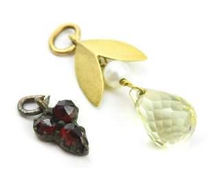 Estate 18kt Gold & Citrine Pendant & Garnet Charm