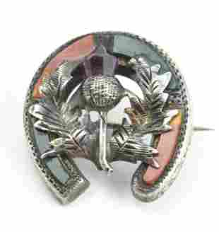 Antique 19th C Sterling Scottish Thistle Brooch