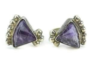 Mexico Spratling Style Sterling Amethyst Earrings