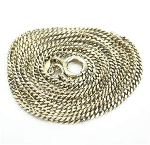 Italian Sterling Silver Curb Link Necklace Chain