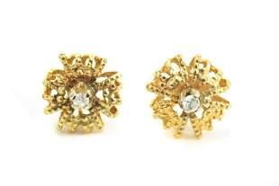 Estate 14kt Yellow Gold & Diamond Earrings