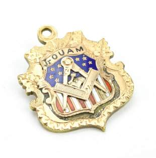 Antique 19th C Enamel Decorated Shield Pendant