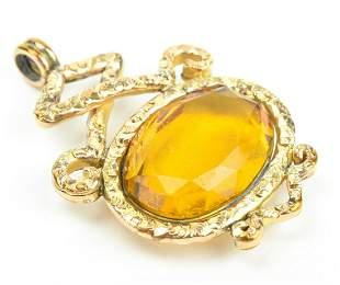 Large Antique 19th C Citrine Crystal Pendant / Fob