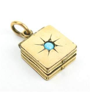 Antique 19th C Starburst Turquoise Locket Pendant