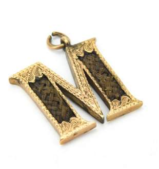 Antique 19th C Gold Mourning Pendant w Woven Hair
