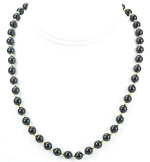 Estate 10k Yellow Gold Black Onyx Necklace Strand