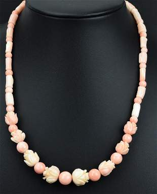 Antique Hand Carved Angel Skin Coral Bead Necklace