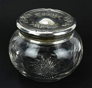 Antique Sterling Silver & Cut Crystal Vanity Jar