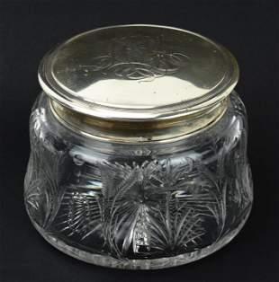 Large Antique Sterling & Cut Crystal Vanity Jar