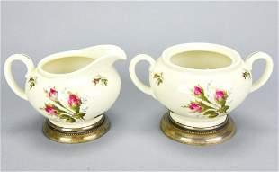 Rosenthal Porcelain & Sterling Base Cream & Sugar