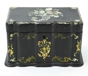 Antique 19th C Inlaid Paper Mache Jewelry Box