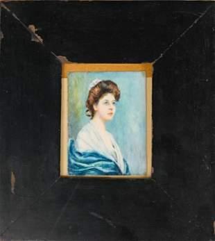 Framed Antique Hand Painted Portrait Miniature
