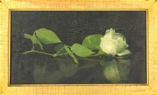 Framed Antique 19th C Yellow Rose Oil Painting
