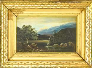 Framed Antique 19th C Landscape Oil Painting