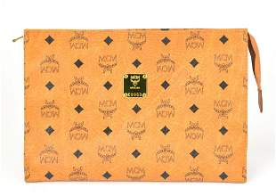 MCM Visetos Original Leather Cognac Clutch Purse